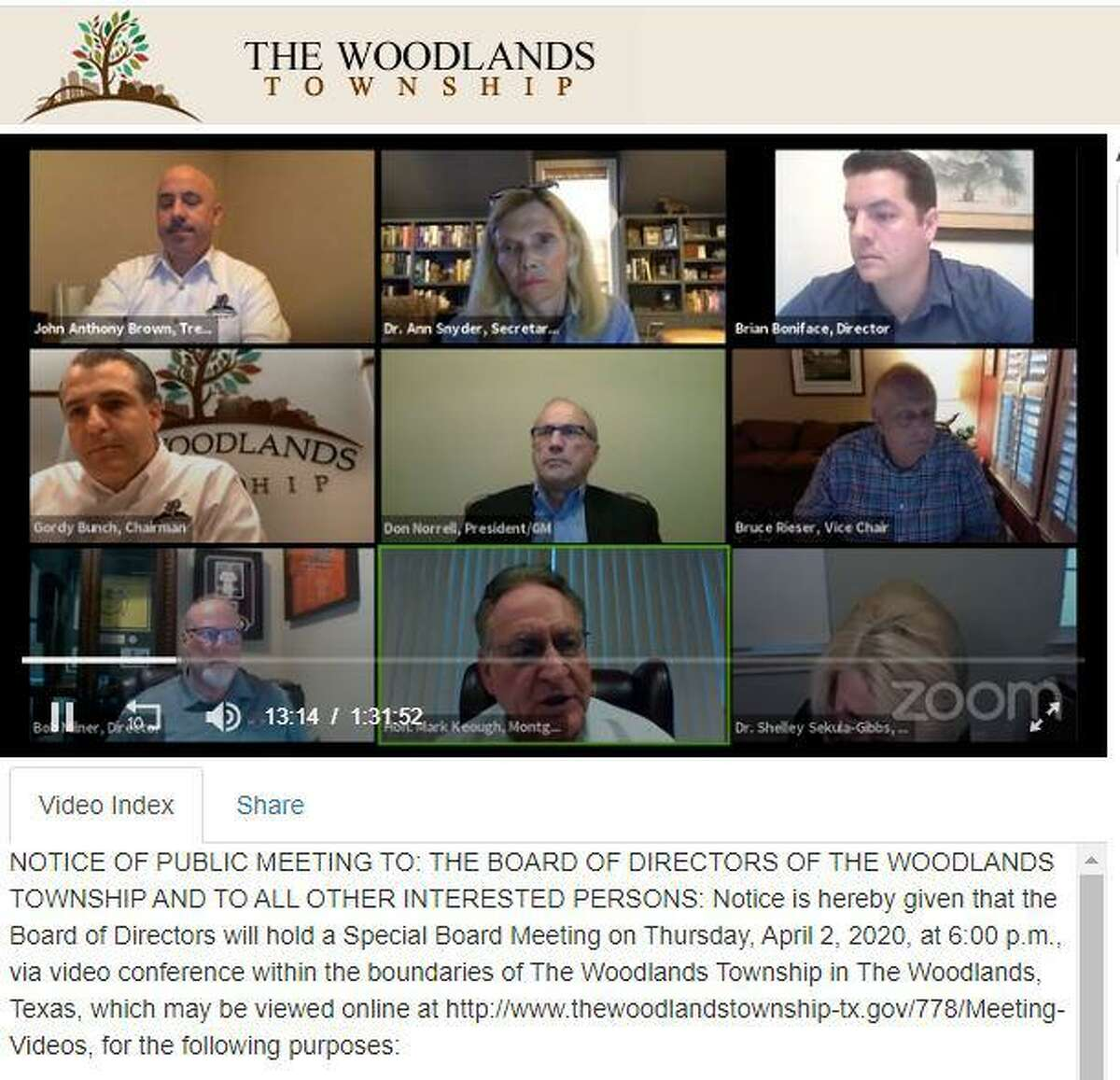 The Woodlands Township Board of Directors hosted another online virtual meeting on Thursday, April 2. In this image from the 'Zoom' videoconference call, Montgomery County Judge Mark Keough gives the board an update on a range of COVID-19 issues.
