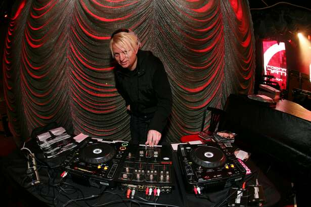 DJ Aaron Axelsen spins at Verizon Wireless' launch of the DROID at Bimbo's 365 on November 6, 2009 in San Francisco, California.