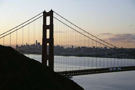 """The San Francisco skyline is seen shortly after sunrise behind the Golden Gate Bridge Tuesday, March 17, 2020, in Sausalito, Calif. About 7 million people in the San Francisco Bay Area woke up Tuesday to nearly empty highways, shuttered stores and vacant streets after officials issued an order for residents to shelter at their homes and only leave for """"essential"""" reasons in a desperate attempt to slow the spread of the coronavirus. (AP Photo/Eric Risberg)"""