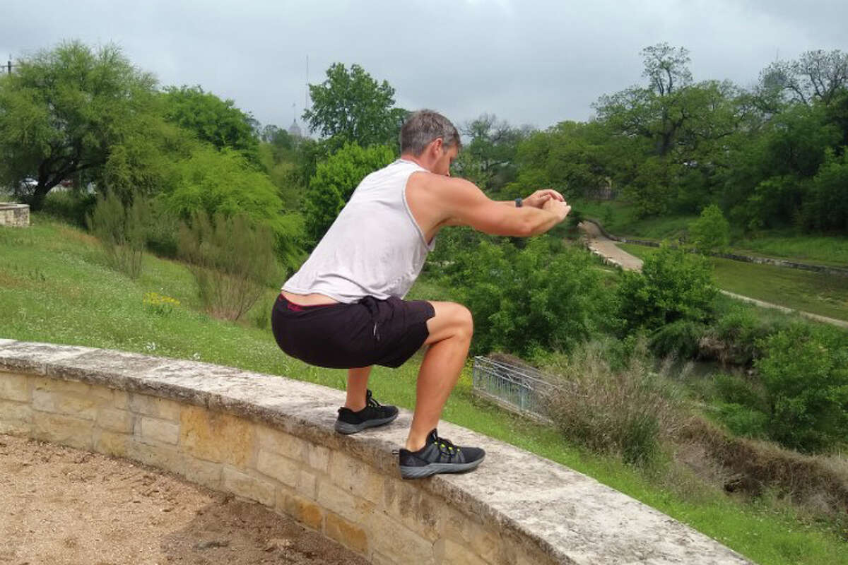 Box jump: Squat down and explode up, landing on the box or ledge. Finish by standing straight up and squeezing your glutes. The taller you are, the higher the box or ledge should be. If you have tight hip flexors, step-ups might be easier (see below).