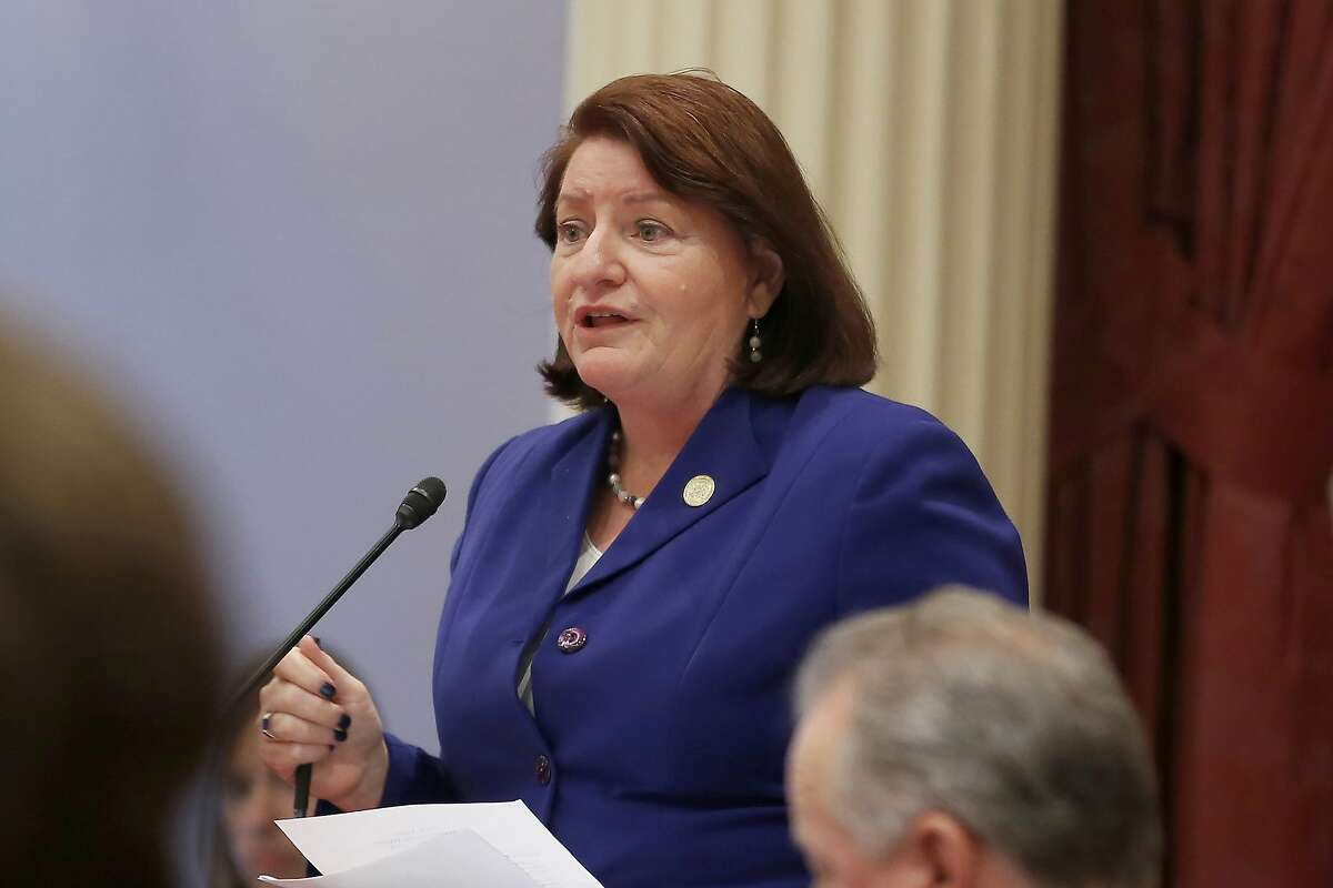 FILE - In this Sept. 12, 2019, file photo, California state Senate President Pro Tem Toni Atkins, of San Diego, speaks on the floor of the Senate in Sacramento, Calif. On Friday, April 3, 2020, Atkins said the California Legislature will not reconvene on April 13 as they had previously planned because of the ongoing COVID-19 outbreak. (AP Photo/Rich Pedroncelli, File)