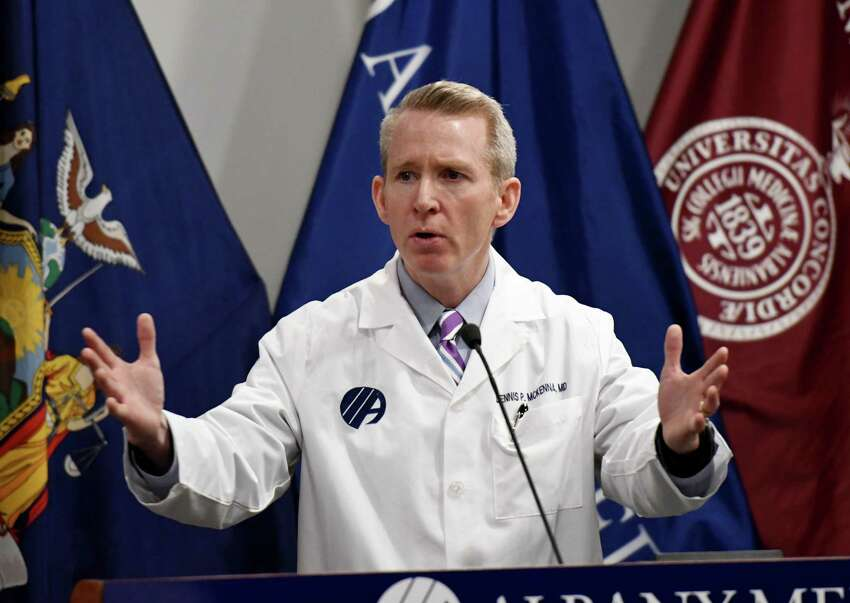 Dr. Dennis P. McKenna, president and CEO of Albany Medical Center, speaks to reporters during a joint press conference where leaders from Capital Region hospitals gave updates on their ongoing coronavirus preparations on Friday, April 3, 2020, at Albany Med in Albany, N.Y. (Will Waldron/Times Union)