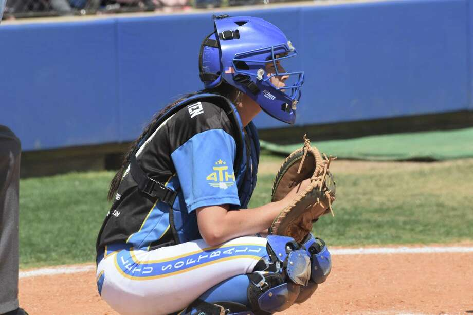 LeTourneau catcher and Conroe High School grad Maycie Walton. Photo: LeTourneau Athletics