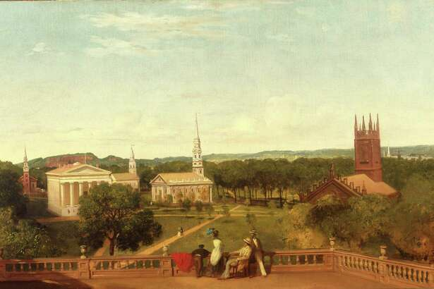 The New Haven Green in another era, as seen in the New Haven Museum's collection.