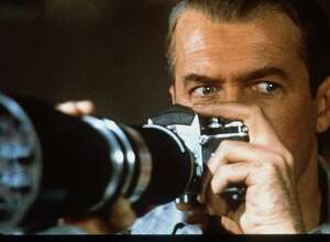 "Jimmy Stewart stars in Alfred Hitchcock's 1954 classic thriller ""Rear Window."""