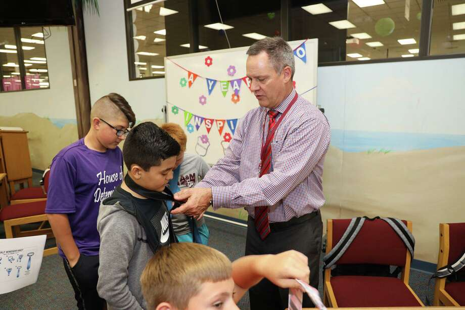 Before the coronavirus outbreak shuttered campuses in Deer Park ISD, the district's next superintendent, Stephen Harrell, spent time visiting students and staff members. He is set take over from Victor White, whose contract ends Aug. 31. Photo: Deer Park ISD