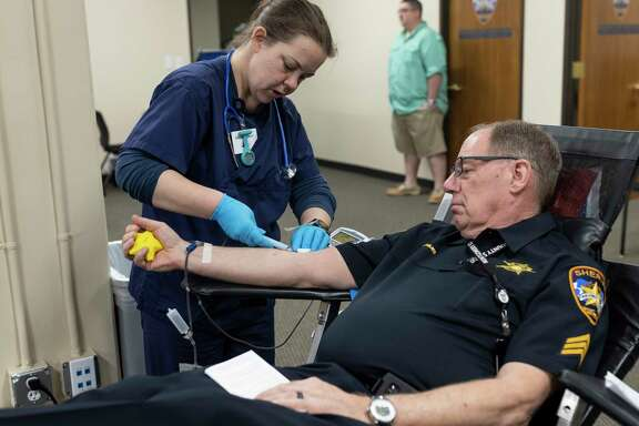 A donor gives blook at the Gulf Coast Regional Blood Bank on Tuesday. Blood and plasma donations are needed now more than ever as a number of blood drives have been canceled due to the COVID-19 pandemic. Do your part and make an appointment.
