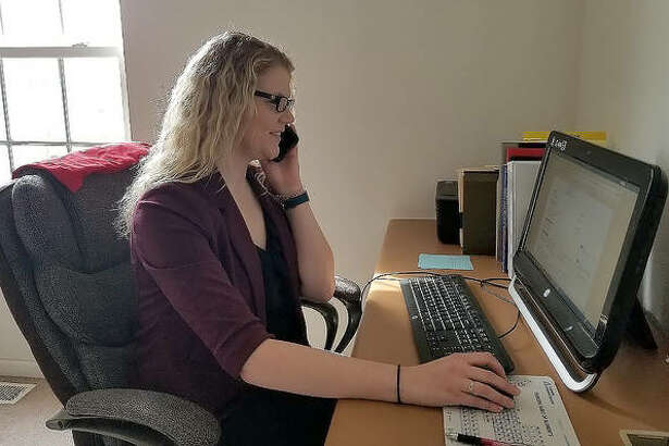 Megan Scribner, a counselor at the SIUE Career Development Center, conducts a virtual meeting with a student on Thursday. With the SIUE campus being shut down due to the coronavirus outbreak, the center has moved all of its appointments, meetings and presentations online.