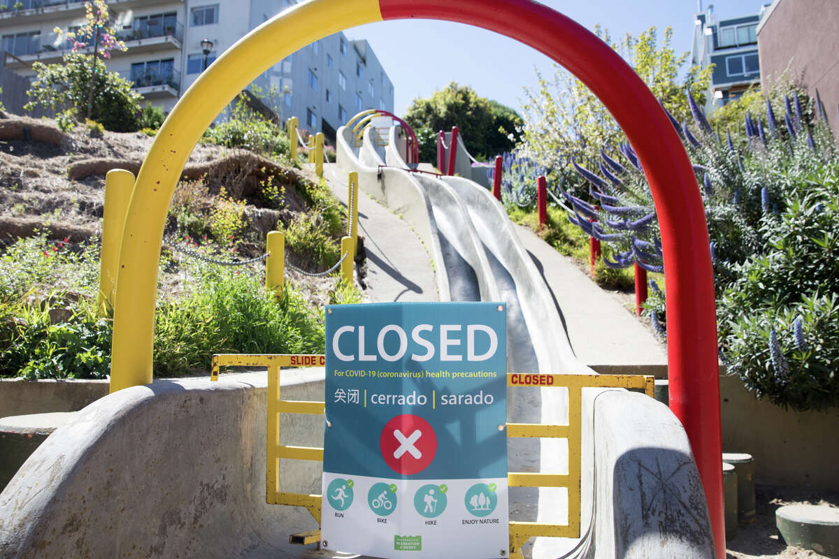 Playgrounds and athletic courts in parks across San Francisco stand empty after enhanced restrictions closed them to the public.