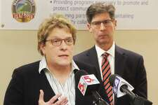 Madison County Health Department Administrator Toni Corona and County Board Chairman Kurt Prenzler at a previous press conference.