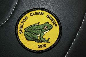 Residents who pick up litter this month can get this Green Frog patch. The frog is designed after city conservation agent Teresa Gallagher's daughter's pet frog, Chadd.