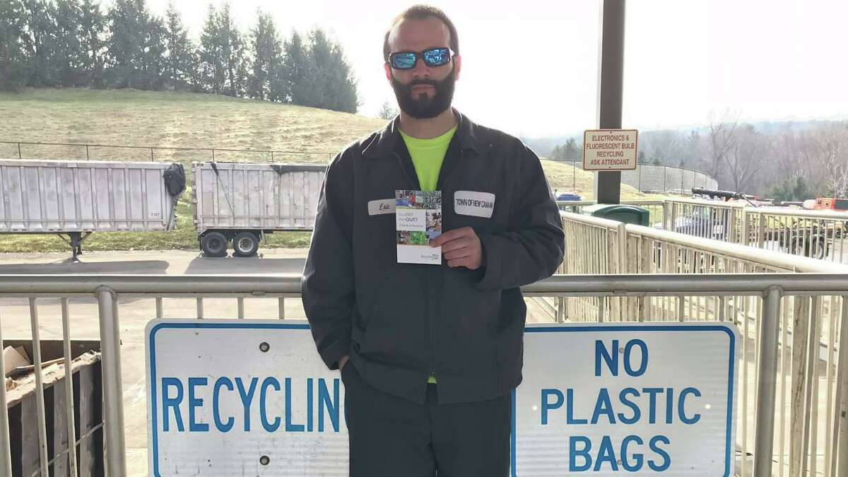 Eric Pote an employee at the New Canaan transfer station stands in front of signs at the facility, which recently announced new guidelines for residents. New Canaan officials are urging residents - especially older ones vulnerable to the COVID-19 disease - to avoid the town's transfer station on Saturdays, and use the facility on weekdays, inorder to avoid coming into contact with the coronavirus, which causes the disease. This is also being done to limit its spread.