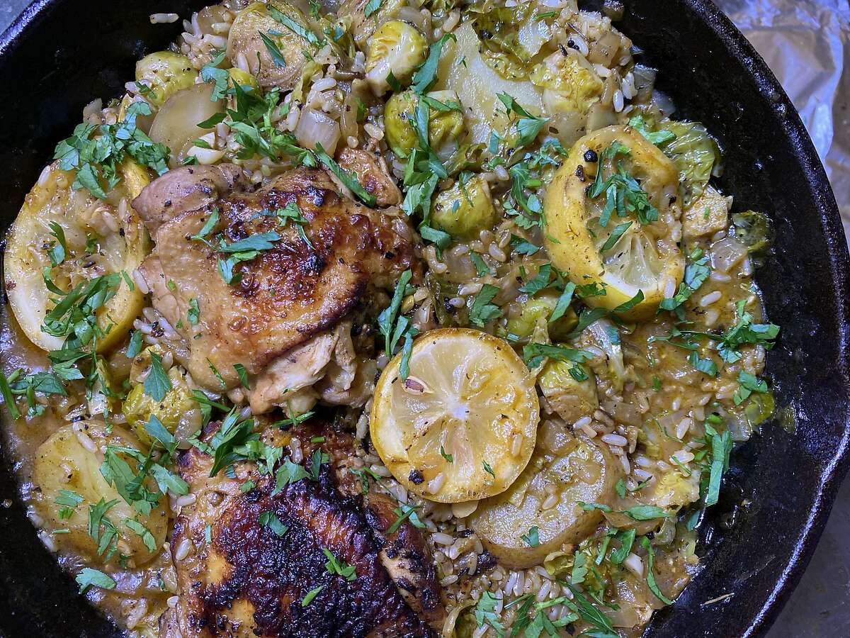 San Francisco home cook Alyssa Lee made a Greek-inspired chicken and rice dish with lots of lemon during shelter in place.