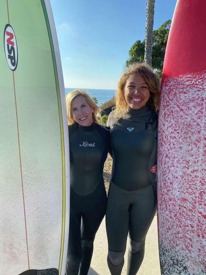 Marisa and Nicole at Swami's surf break before Marisa flew back to Houston and got sick. Photo: Marisa Vallbona