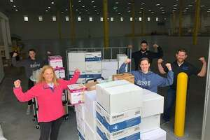 The Edge Fitness Clubs and Diversified Building Services donated cleaning supplies to Yale New Haven Health System.