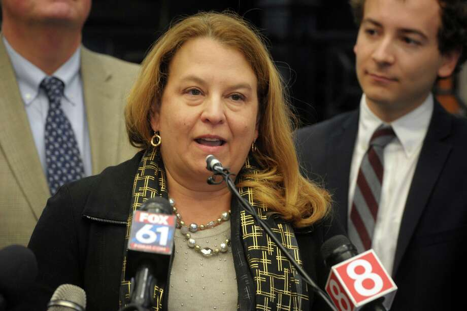 State Rep. Lucy Datham, of New Canaan, speaks during a news conference at the South Norwalk train station, in Norwalk, Conn. Jan. 6, 2020. Photo: Ned Gerard / Hearst Connecticut Media / Connecticut Post