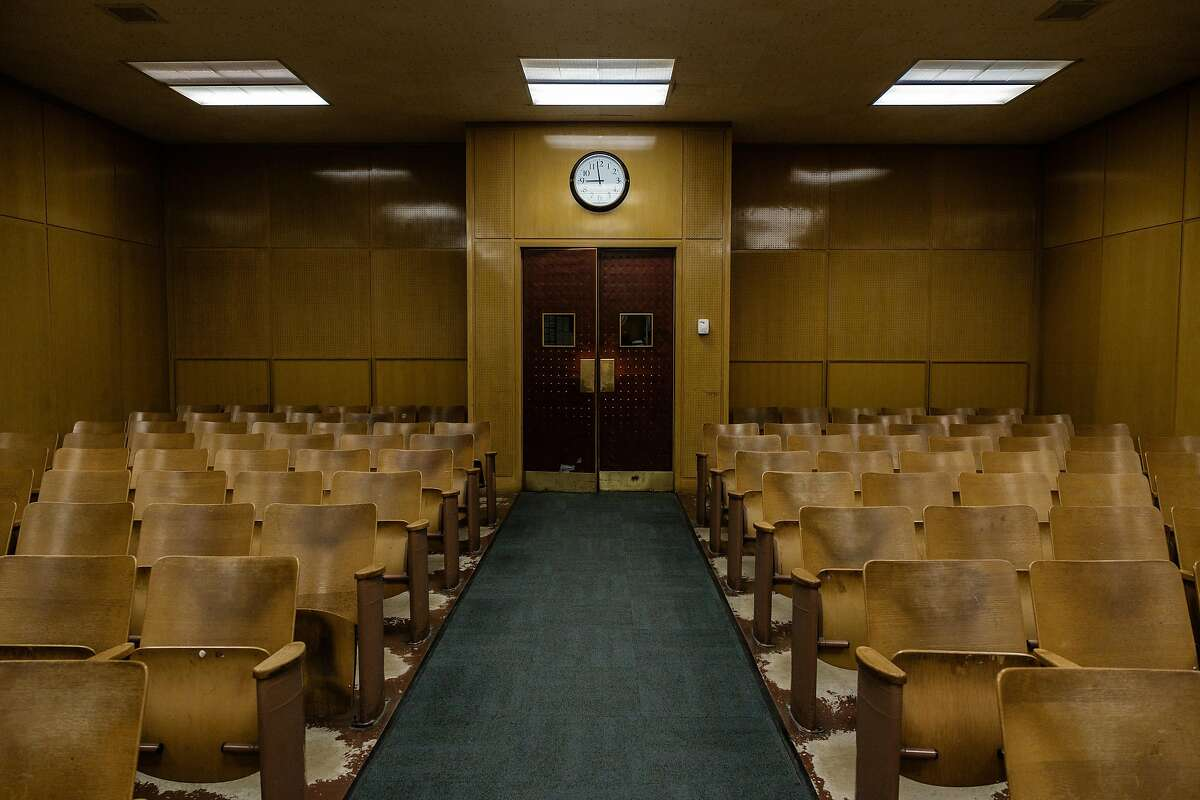 An empty court room is seen while Judge Loretta Giorgi presides over court cases in San Francisco, Calif. on Friday April 3, 2020.