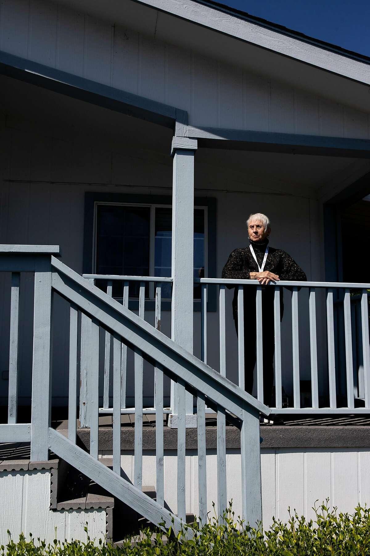 Elizabeth Pecoraro outside her boyfriend's home on Friday, April 3, 2020, in San Jose, Calif.
