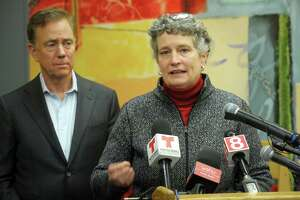 State Office of Early Childcare Commissioner Beth Bye speaks during a news conference at the ABCD childcare facility in Bridgeport, Conn. Feb. 3, 2020. State and local officials gathered to announce a new Care 4 Kids initiative that will help low income families pay for early childcare education costs.