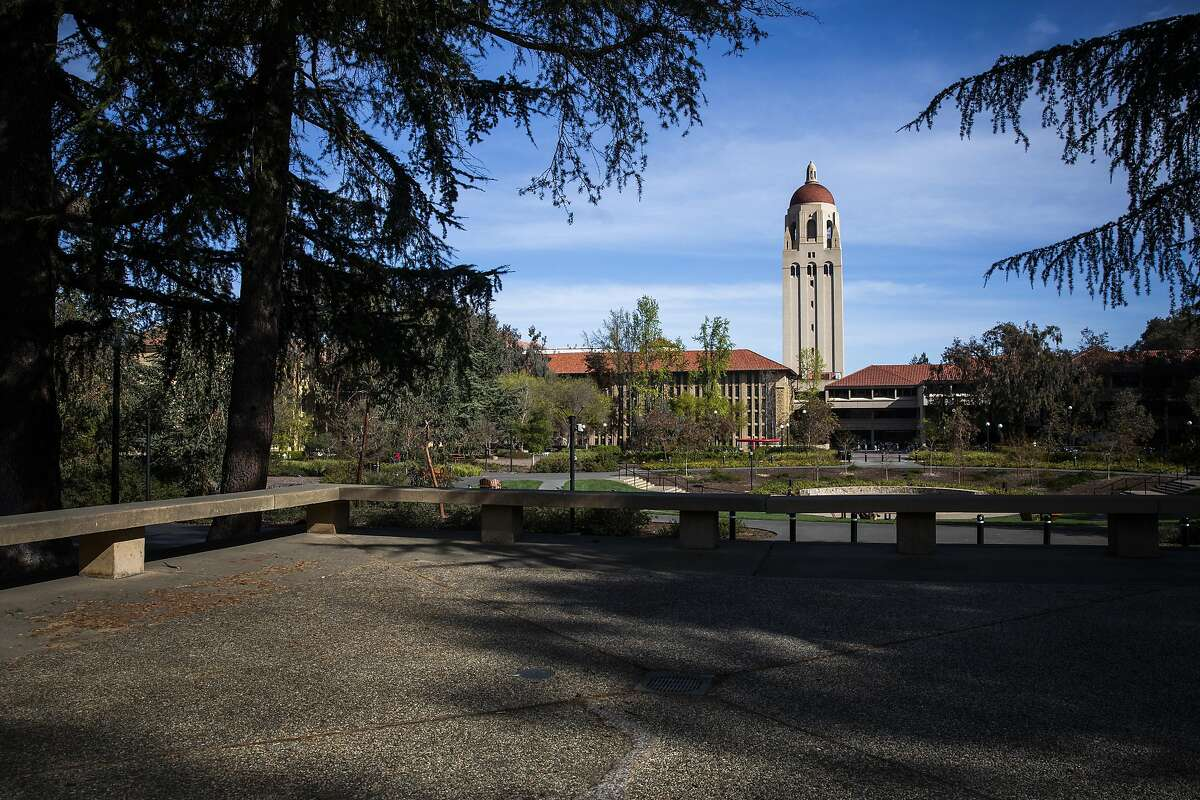 Hoover Tower looms during a quiet morning at Stanford University on March 9, 2020 in Stanford, California. Stanford University announced that classes will be held online for the remainder of the winter quarter after a staff member working in a clinic tested positive for the Coronavirus.