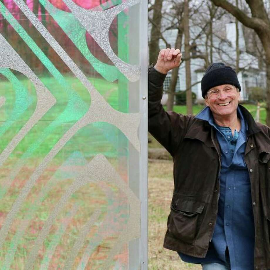 Passages, created by Norwalk-based artist, Thomas S. Berntsen, is a series of seven eight-foot-tall panels that meander along a path in the center of the Hannan-Eberstadt Preserve. Photo: Beth Sanford