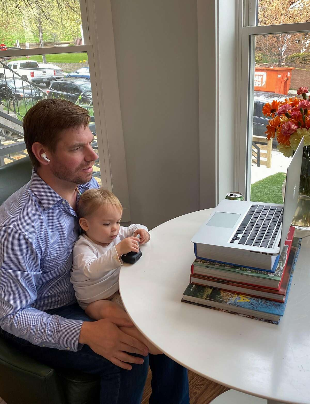 Rep. Eric Swalwell, D-Dublin, participates in a video conference call while at home during the coronavirus pandemic.