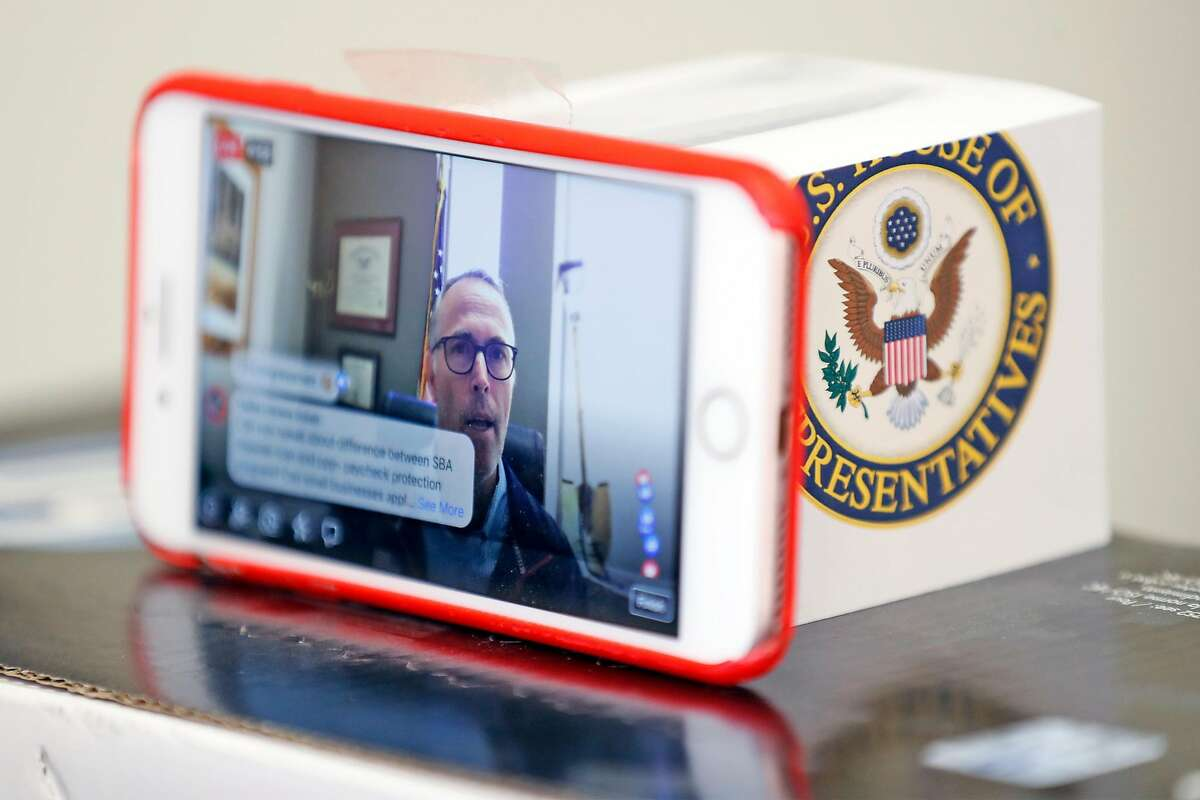 Congressman Jared Huffman does a Facebook Live with his constituents from his office in San Rafael, Calif., on Wednesday, April 1, 2020.