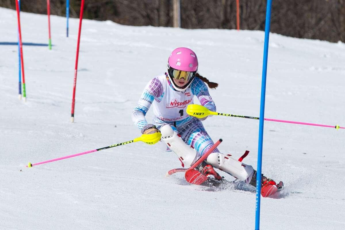 HannahA Klingebiel participates in skiing event.