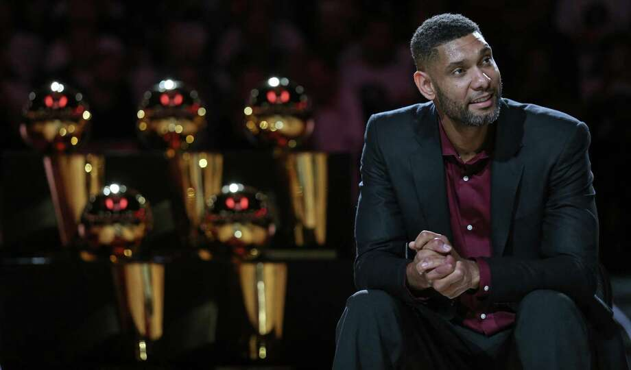 Former San Antonio Spurs player Tim Duncan listens to speakers during his jersey retirement ceremony held after the game with the New Orleans Pelicans Sunday Dec. 18, 2016 at the AT&T Center. Photo: Edward A. Ornelas, Staff / San Antonio Express-News / © 2016 San Antonio Express-News