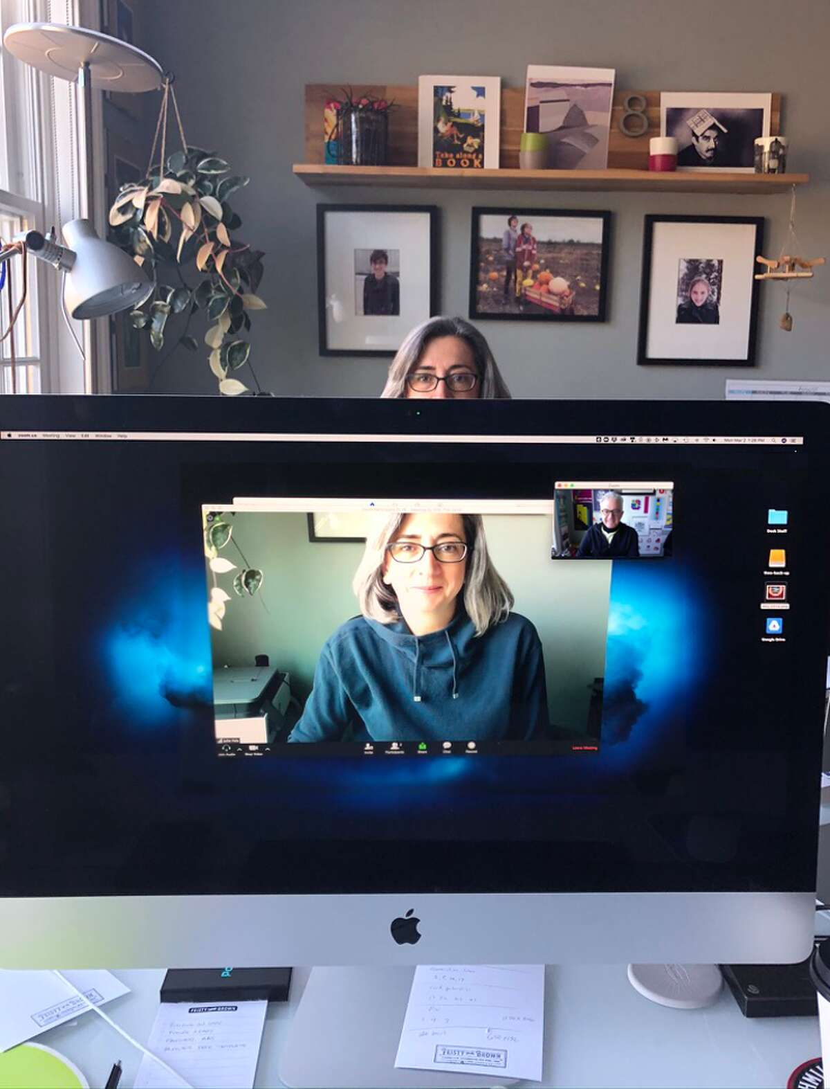 In our studio, I work directly across from my wife, but can't see her so sometimes we Zoom each other when we need to talk.