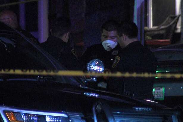 San Antonio police investigate a shooting on the far West Side Saturday, April 4, 2020.