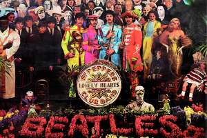 "The cover of ""Sgt. Pepper's Lonely Hearts Club Band"" includes a ""typo"" on the drum."