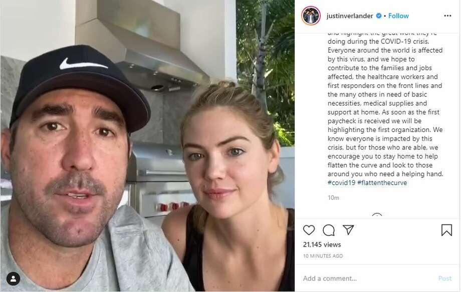 Astros' star, Justin Verlander and his wife Kate Upton have decided to donate his MLB paychecks to different organizations providing COVID-19 relief efforts. Photo: Justin Verlander