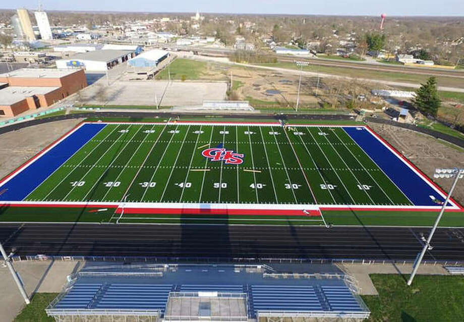 "The artificial turf field at Carlinville High School will be ready for use Monday after the community project ""All Cavies on Turf"" raised the funds and provided labor producing the South Central Conference's first turf field. Photo: Drone Photo Courtesy Brad Barkley"