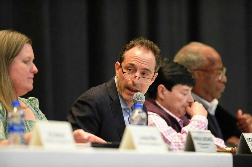 Richard Freedman, Board of Finance Chairman, opens a Joint Public Hearing of the Board of Finance and Board of Representatives at Cloonan Middle School on Thursday, March 28, 2019 in Stamford, Connecticut.