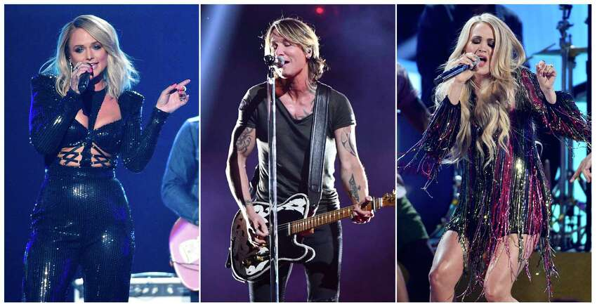 This combination photo shows country music stars, from left, Miranda Lambert, Keith Urban and Carrie Underwood, who are among 23 performers that will be featured in a€œACM Presents: Our Country,a€ an at-home country music special that is airing on CBS on April 5, in lieu of their delayed Academy of Country Music awards show. (AP Photo)