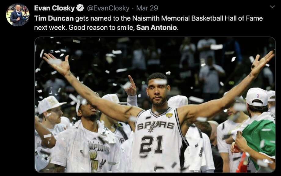 Fans react to Tim Duncan's 2020 Hall of Fame induction on Twitter. Photo: Twitter
