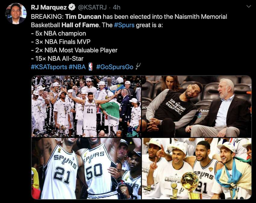 Fans react to Tim Duncan's 2020 Hall of Fame induction on Twitter.