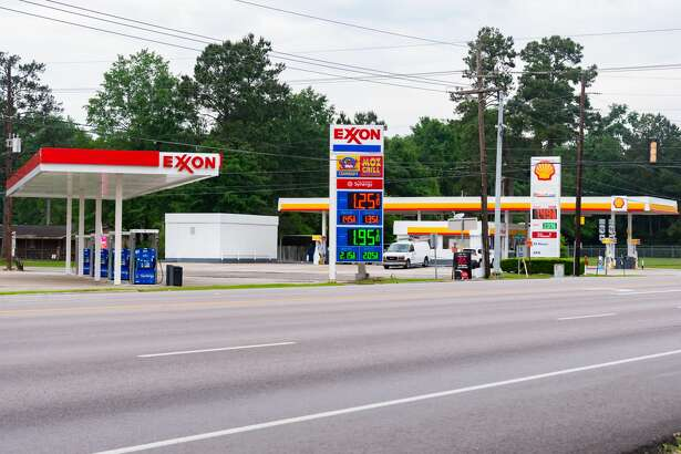 With people staying at home to avoid spreading the coronavirus, pumps like these at the Exxon and Shell stations at W. Chance Cutoff and N. Main St. in Lumberton stand empty even though gas prices are at their lowest level in years. Photo made on April 4, 2020. Fran Ruchalski/The Enterprise