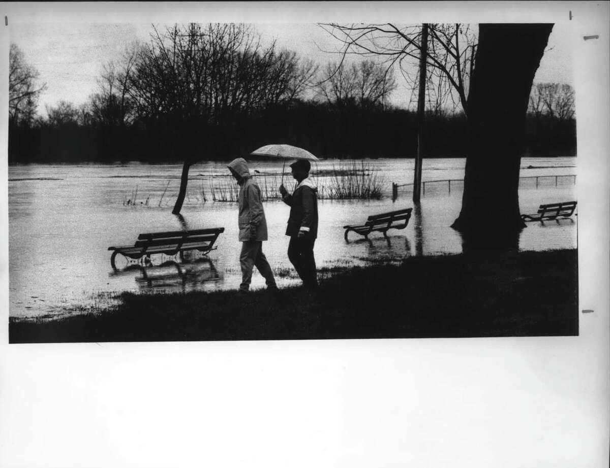 Riverfront park in the Stockade section of Schenectady, New York floods over the banks. April 5, 1987 (Fred McKinney/Times Union Archive)