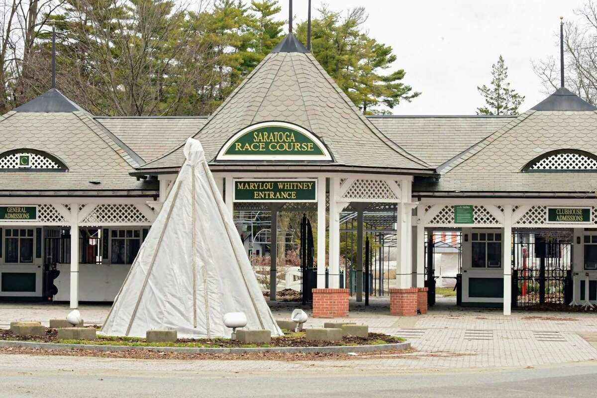Turnstile entrance at gate 8 of the Saratoga Race Course on Thursday April 2, 2020 in Saratoga Springs, N.Y. The tourism bureau in Saratoga Springs says the city and region could lose a billion dollars if Saratoga Performing Arts Center and New York Racing Association are affected. (Lori Van Buren/Times Union)