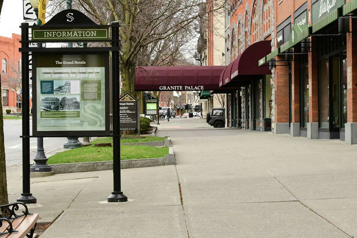 Sidewalks were near empty along Broadway on Thursday April 2, 2020 in Saratoga Springs, N.Y. The tourism bureau in Saratoga Springs says the city and region could lose a billion dollars if Saratoga Performing Arts Center and New York Racing Association are affected. (Lori Van Buren/Times Union)
