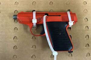 One of the guns seized from the Springfield, Mass., man during an investigation in Milford, Conn., on April, 3, 2020.