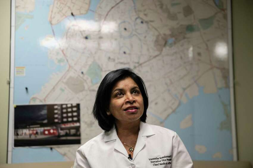 Dr. Vasantha Kondamudi, the chief medical officer, in her office at the Brooklyn Hospital Center in New York, March 30, 2020. The coronavirus crisis pummeled the Brooklyn hospital, just as it did others throughout New York City, where the death toll reached nearly 2,000, as the governor warned that vital equipment and supplies would run short in just a few days, as the mayor pleaded for more doctors and as hospital officials and political leaders alike acknowledged that the situation would get even worse. (Victor J. Blue/The New York Times)