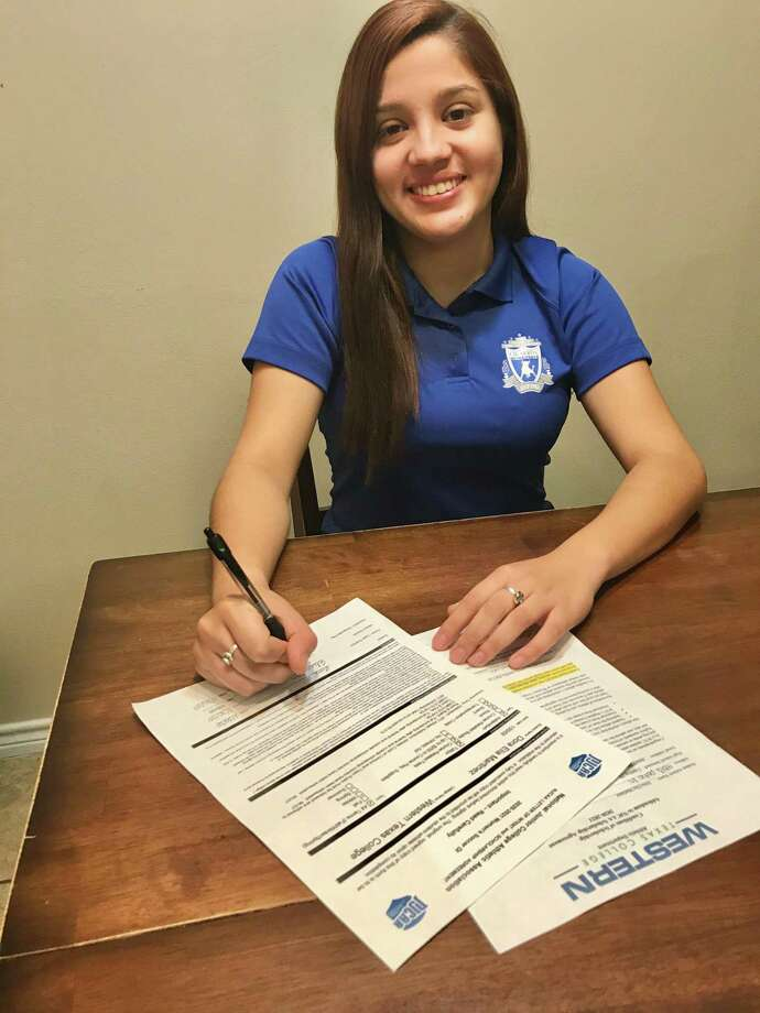 Cigarroa senior Dora Martinez signed her National Letter of Intent on Friday to continue her soccer career at Western Texas College. Photo: Courtesy Of Cigarroa Athletics