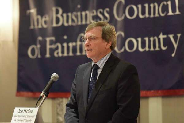 BCFC Vice President of Public Policy and Programs Joe McGee speaks at The Business Council of Fairfield County's 2016 Connecticut Legislative Leadership Breakfast at the Crowne Plaza in Stamford, Conn. Wednesday, March 23, 2016. Connecticut Speaker of the House Brendan Sharkey (D), Senate President Pro Tempore Martin Looney (D), Senate Minority Leader Len Fasano (R) and House Republican Leader Themis Klarides discussed the Connecticut business climate in a panel discussion moderated by BCFC Vice President of Public Policy and Programs Joe McGee.