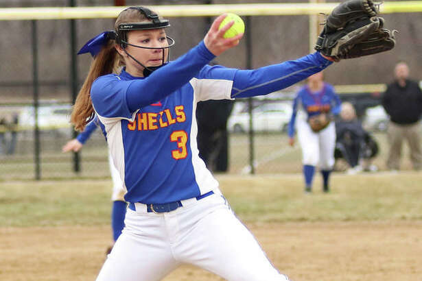 Roxana's Taylor Nolan delivers a pitch during a game last March at the Bethalto Sports Complex. Nolan is one of our senior starters returning for the Shells in 2020.