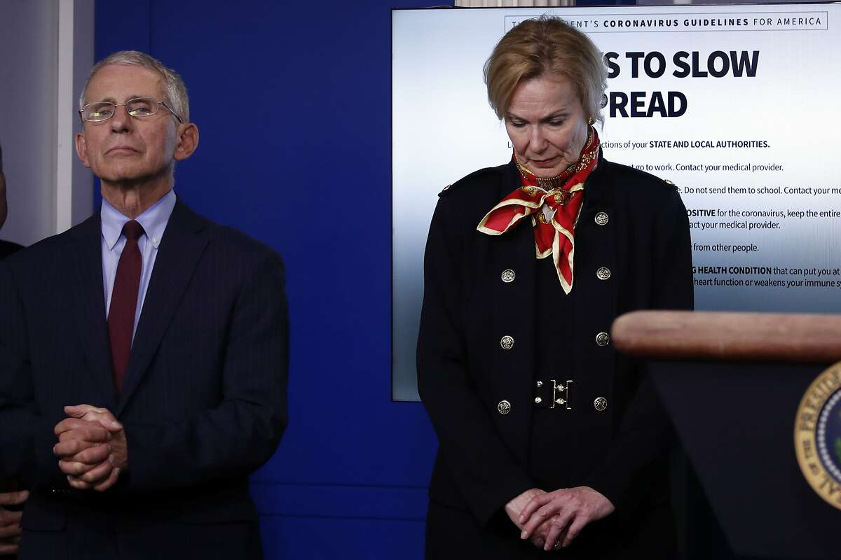 Dr. Anthony Fauci, director of the National Institute of Allergy and Infectious Diseases, and Dr. Deborah Birx, White House coronavirus response coordinator, listen as President Donald Trump speaks about the coronavirus in the James Brady Press Briefing Room of the White House, Tuesday, March 31, 2020, in Washington. (AP Photo/Alex Brandon)