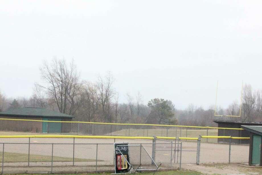 The Big Rapids High School softball diamond is empty and will stay this way while schoolsand sports are shut downbecause of the coronavirus crisis. (Pioneer photo/John Raffel)