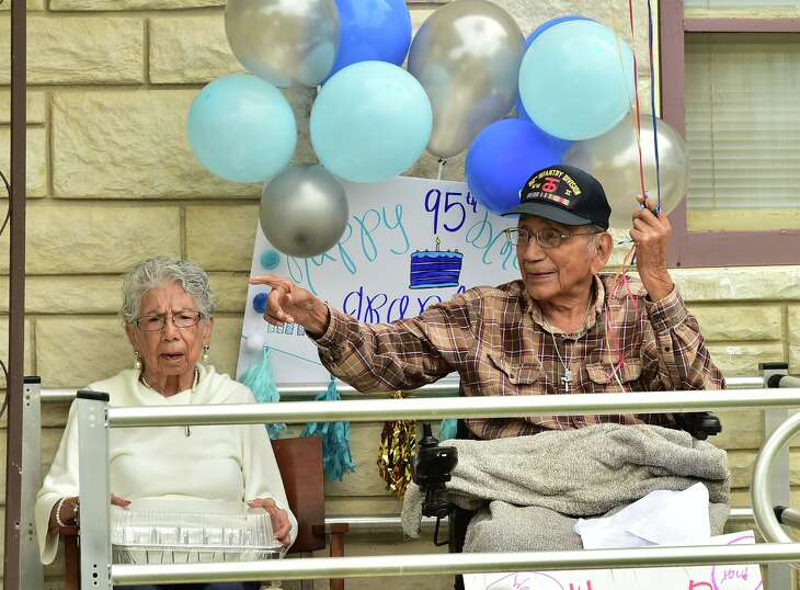 Celestino Rodriguez, 95, and his wife Stella 91, celebrated their 67th wedding anniversary and well as his 95th birthday Sunday as family members caravaned to their home and sang to them. to them.